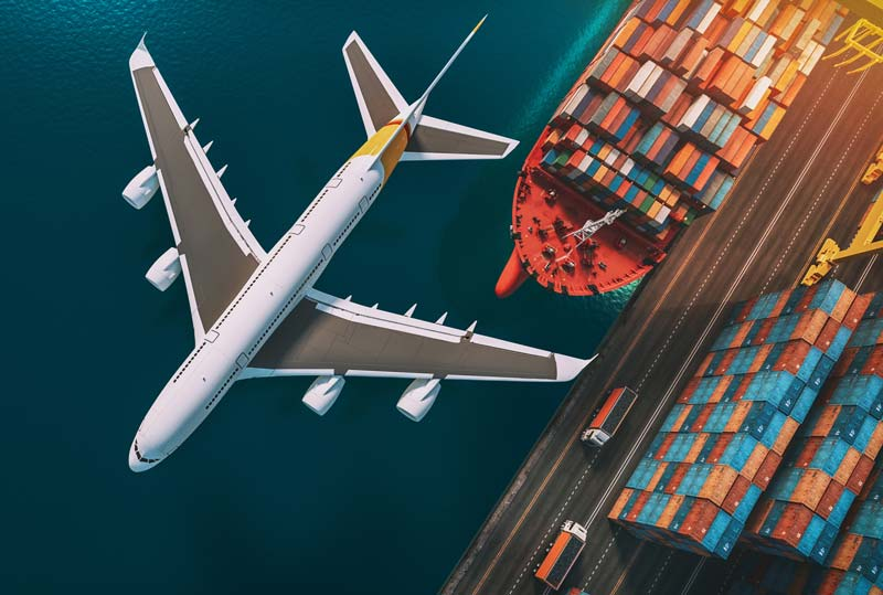 Image showing cargo plane, ship and road freight