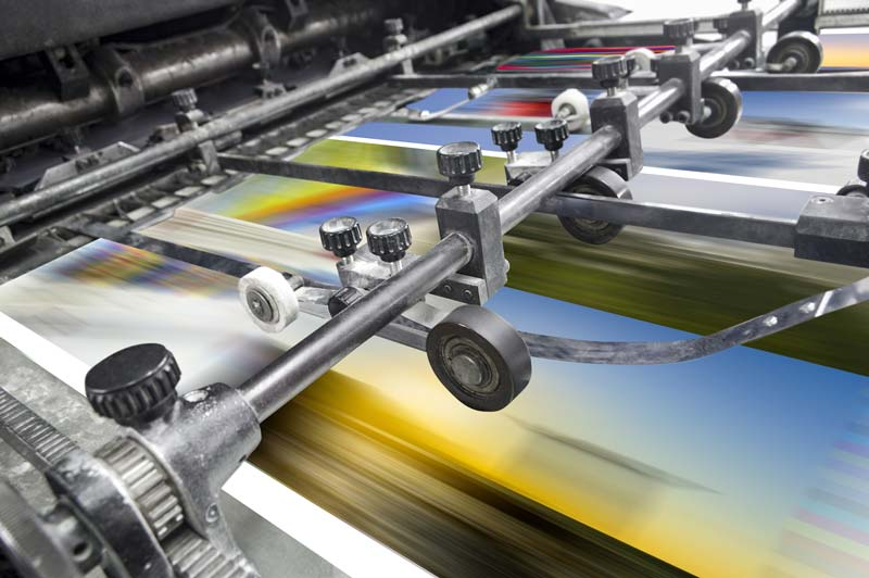 litho printing press in action